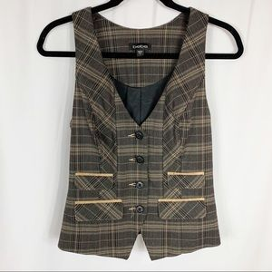 Bebe Brown Plaid Vest Size Small